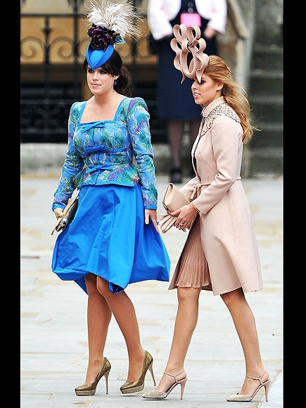 LONDON, ENGLAND - APRIL 29:  Princess Eugenie of York (L) and Princess Beatrice of York arrive to attend the Royal Wedding of Prince William to Catherine Middleton at Westminster Abbey on April 29, 2011 in London, England. The marriage of the second in li
