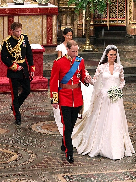Prince William and his new bride Kate walk leave Westminster Abbey, London, following their marriage, followed by Prince Harry and Pippa Middleton. PRESS ASSOCIATION Photo. Picture date: Friday April 29, 2011. Photo credit should read: AD/AAD/starmaxinc.c