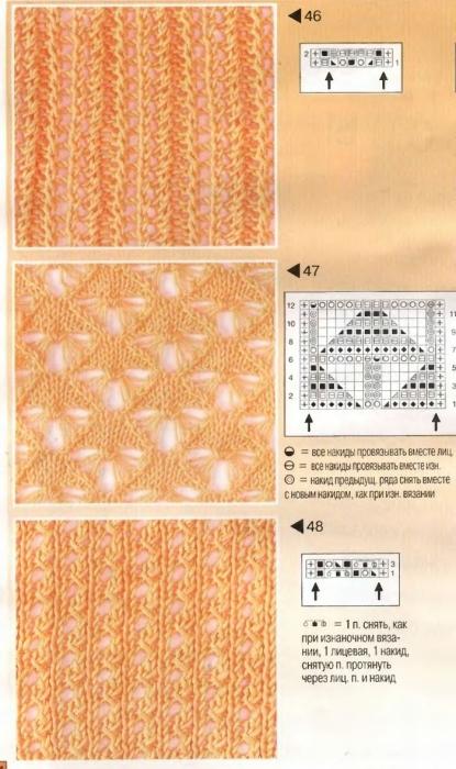 Ажурные узоры спицами, схемы