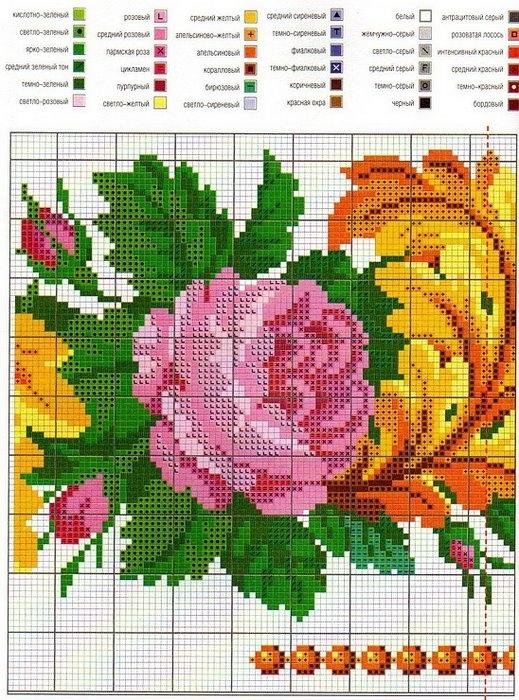Вышивка крестиком цветы онлайн