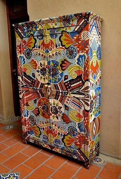 Ткани в декоре шкафа