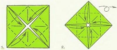 2. Еще раз согните углы в центр и переверните фигурку.  Кувшинка - схема традиционной модели.