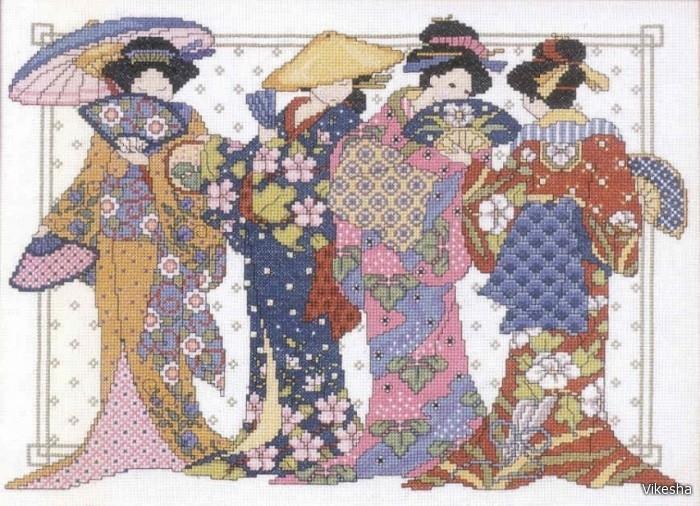 Вышивка крестиком - Японки.