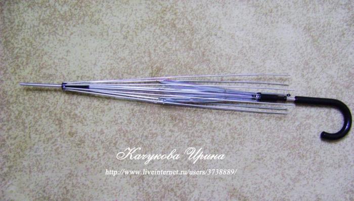 Снимаем ткань с зонта-трости. Получаем заготовку на которую будем крепитьготовое вязаное полотно.