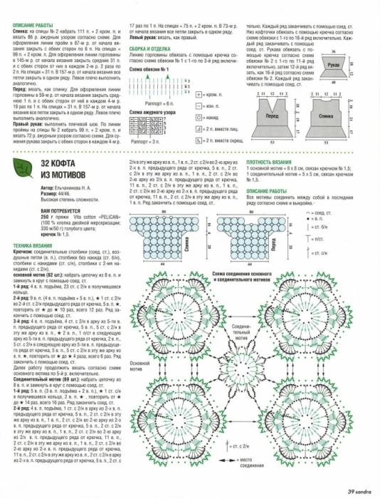 Вязание крючком мотивы и схемы для жакета