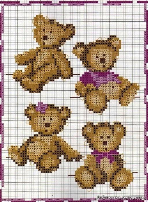 Схемы вышивки мишек крестиком
