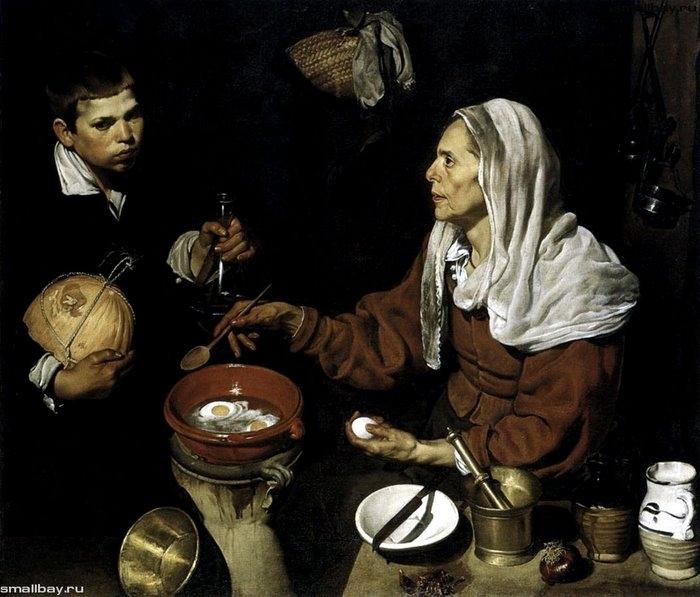 Старая кухарка, 1618 Национальная галерея, Эдинбург