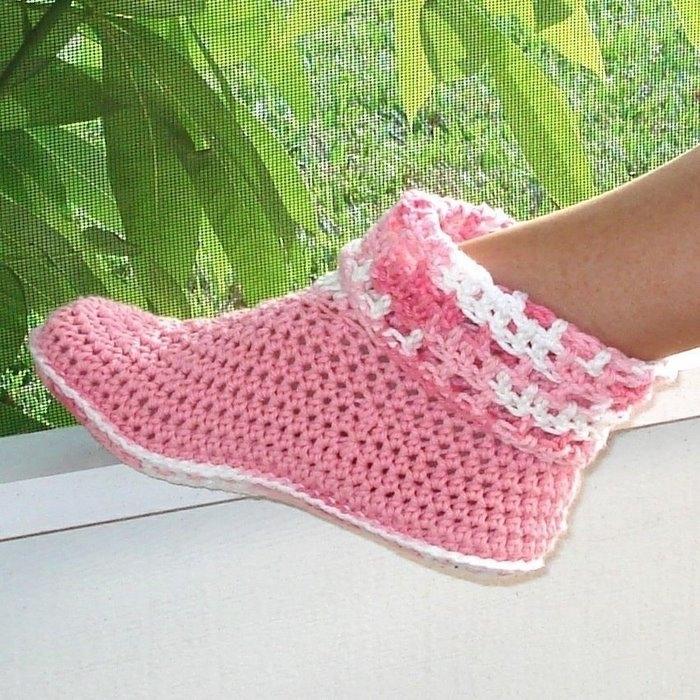 схема вязания носков тапочек крючком
