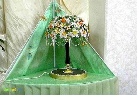Изготовление светильника из бисера.