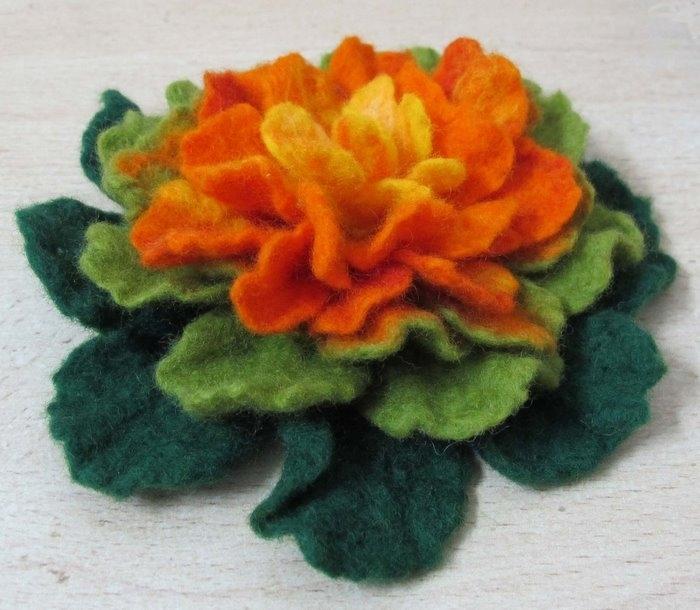 flowers for scraves: felting wool