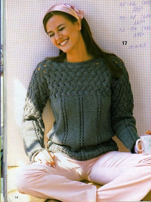 Узоры вязания свитера женского 760