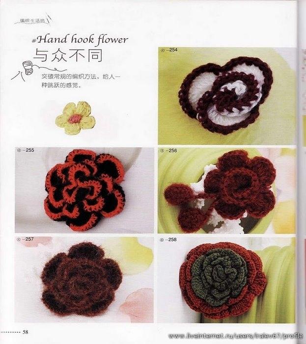Большой сборник связанных крючком украшений - розочки, цветочки, круглые.