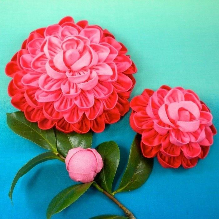 Объемные цветы из ткани мастер класс с пошаговым фото