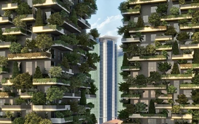 Два здания, которые сейчас строятся в центре Милана, очевидно, станут первыми на нашей планете небоскрёбами, плотно засаженными деревьями сверху донизу. «Вертикальный лес» (Bosco Verticale) – проект итальянского архитектора Стефано Боэри (Stefano Boeri
