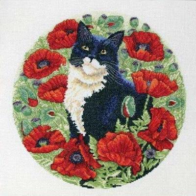 Cхемы для вышивки крестиком - кошечки Коллекция схем для вышивания крестом кошек производителей Anchor, Dimensions...