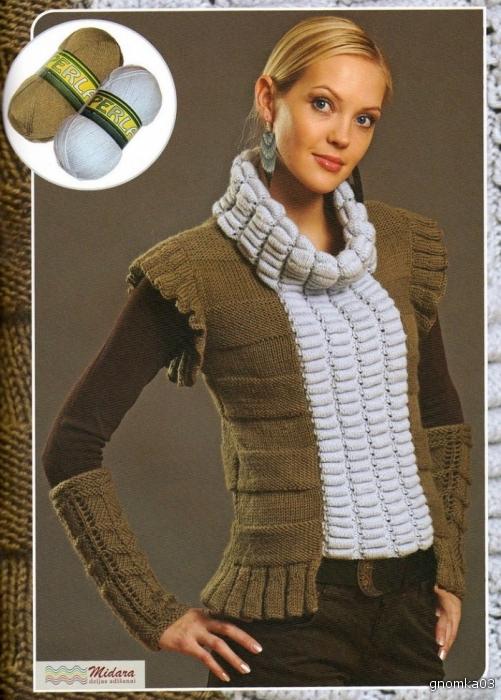 Вязание спицами для женщин самое интересное жилеты 67