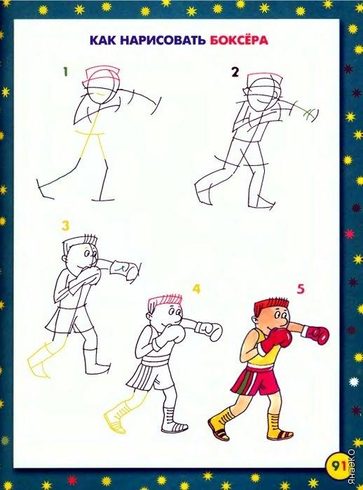 Боксёр поэтапно рисовать