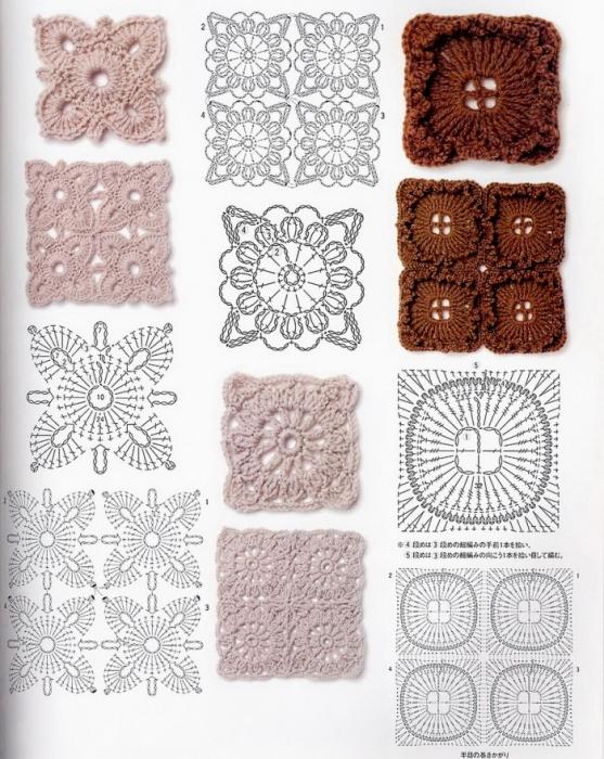 Описание: схемы вязание крючком квадратов.
