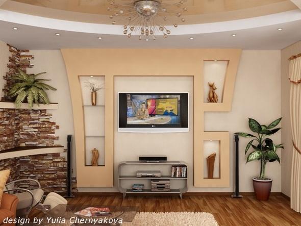 конструкции из гипсокартона в гостиной фото - Сделай сам!