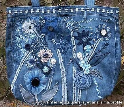 как красиво сшить сумку из джинсов.