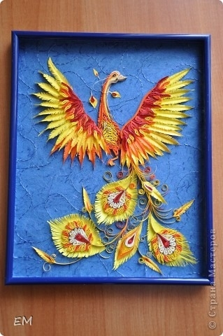 Картина, панно, Мастер-класс, Поделка, изделие Квиллинг: Жар птица + процесс работы(или мини МК) Бумага.
