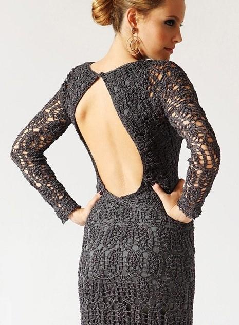 Вязание платья с открытой спиной