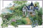 """Схема вышивки  """"Цветы у дома """" ."""