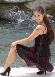 Платье черное вязаное льняное с красной розой