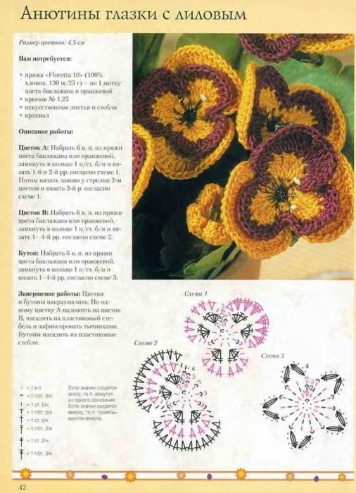 Красивые цветы крючком по схемам!  Очень много.