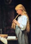 M?dchen, die Haare flechtend, 1887.Albert Anker