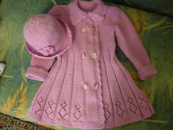 как вязать пальто для девочки 1.5 года