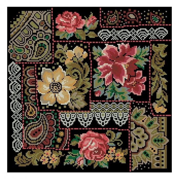 """Схема вышивки  """"Подушка с цветами """" ."""