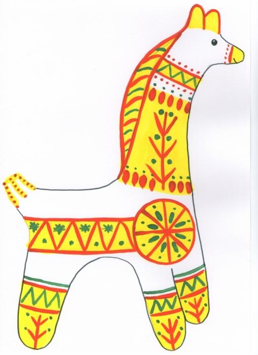 Нарисуйте филимоновскую игрушку