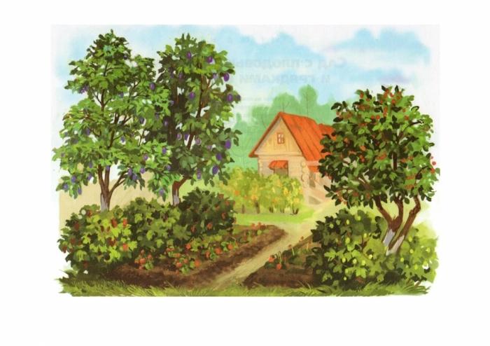"""Оригинал схемы вышивки  """"домик в саду """" ."""