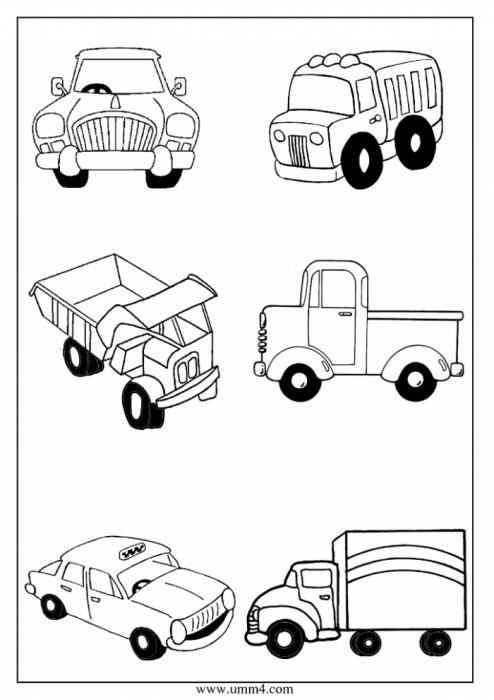 Раскраска маленькие машинки для мальчиков - 9