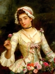 Young Woman With Flowers  - Gustave Jean Jacquet