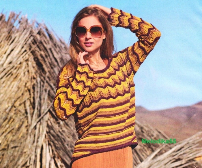 Полосатый пуловер для настоящих мастериц