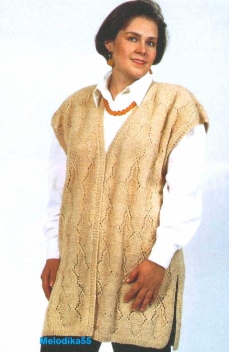 Вязание спицами жилет женский для полных