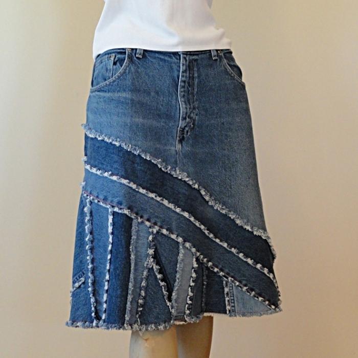 Какую юбку можно сшить из старых джинсов 2