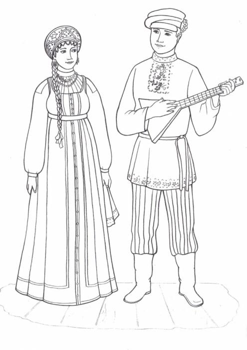 Народ костюмы россии раскраски