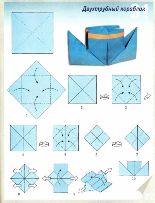 Как сделать кораблик с трубами из бумаги пошаговая инструкция