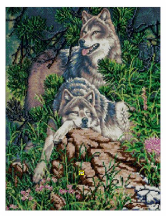 """""""Волки""""-Схема вышивки."""