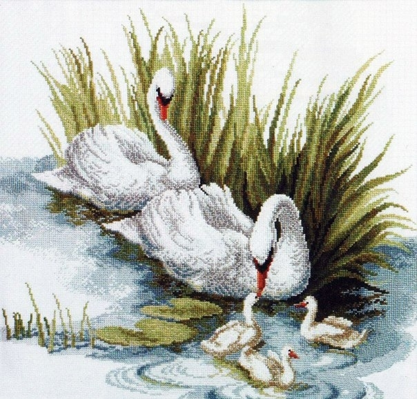 """Лебеди.""-Схема вышивки."