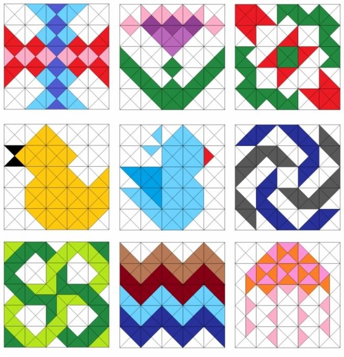 Узор для лоскутного одеяла из квадратов