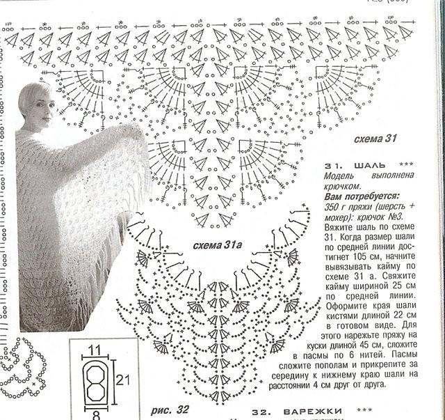шаль схема крючком вязанная