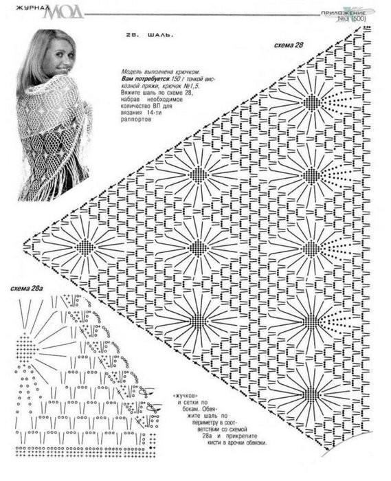 Схемы вязания узоров для шали крючком схемы 88