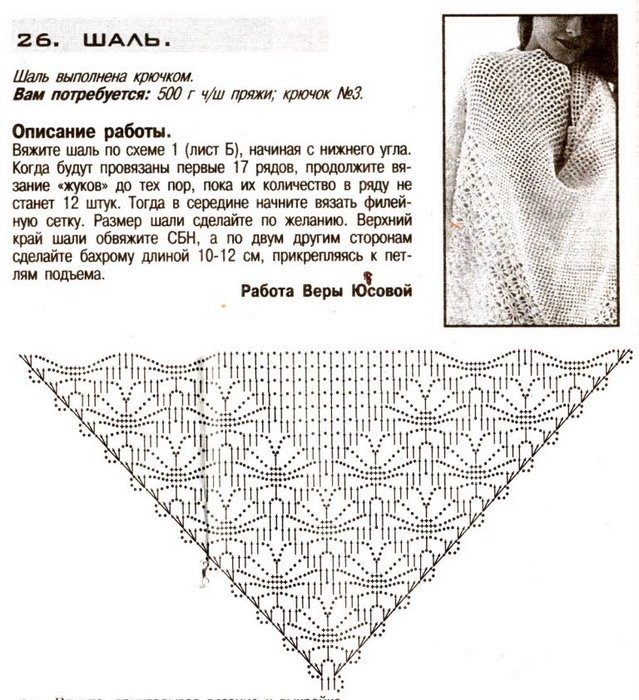 Вязание крючком шали схемы с подробным описанием