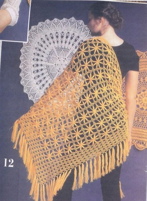 Вязаные шали и палантины и пончо - Схемы вязания вязание.