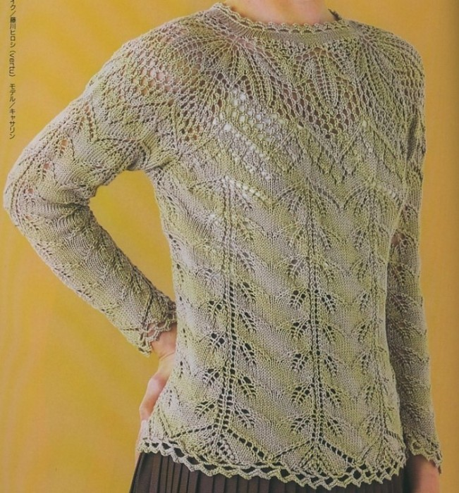 Схема вязания свитера реглан сверху