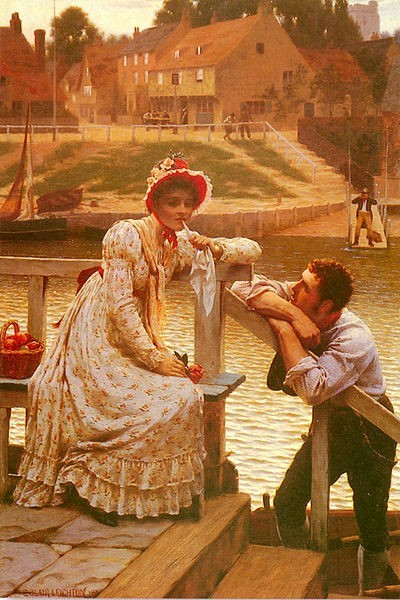 Courtship (as a humorous touch, a passenger is waiting on the other side of the river for the ferryman to finish talking to the pretty girl)